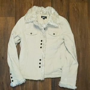 Faux fur lined tan corduroy jacket size small